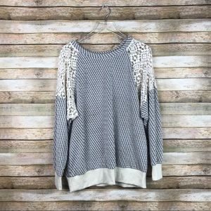 Everleigh Anthro • Geometric Sweater Lace Shoulder